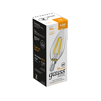 Лампа Gauss Basic Filament Свеча 4,5W 400lm 2700К Е14 LED 1/10/50