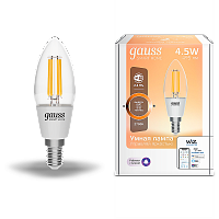 Лампа Gauss Smart Home Filament С35 4,5W 495lm 2700К E14 диммируемая LED 1/10/40